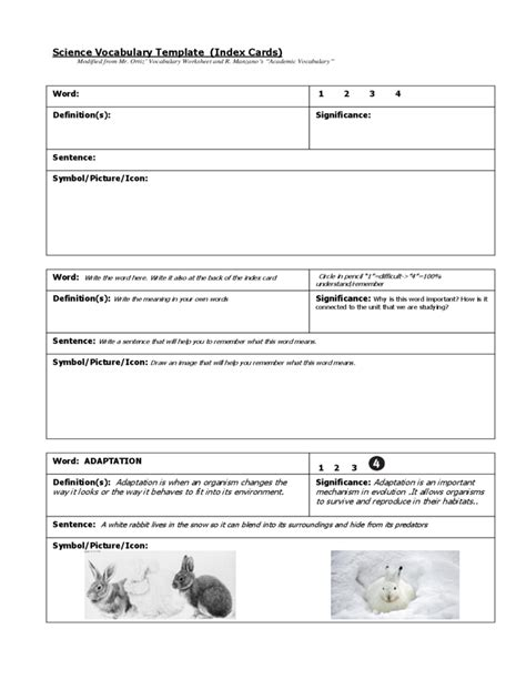 vocabulary index cards template science vocabulary index card template free