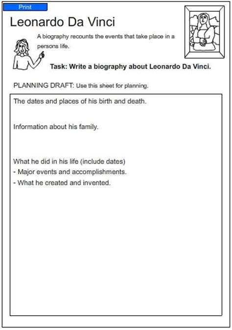 leonardo da vinci biography worksheet leonardo da vinci english skills online interactive