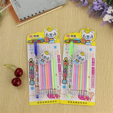 Pen Refill Set 1 pen and 8 refill set colorful gel pen diy decoration for
