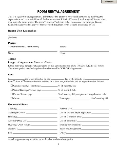 Free Room Rental Lease Agreement Template Portablegasgrillweber Com Rental Agreement Iowa Template