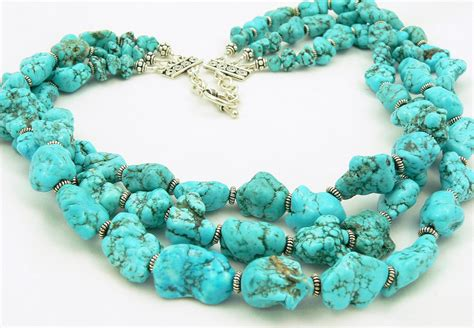turquoise necklace turquoise statement necklace gemstone necklace sterling