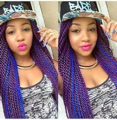 stephanie coker s large senegalese twists looked this purple and blue senegalese twists