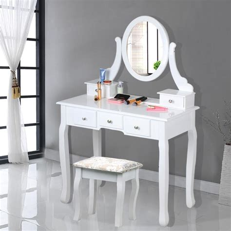 White Dressing Tables With Drawers by Dressing Table 5 Drawer Stool White Mirror Bedroom Makeup