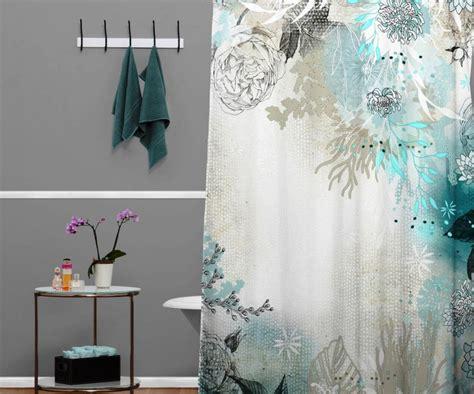 Blue Ocean Floral Fabric Shower Curtains : Diy Custom Blue