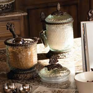 Decorative Kitchen Canisters by The Gg Collection Glass Canisters With Scoop