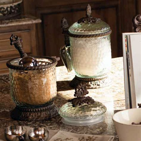 Kitchen Decorative Canisters by The Gg Collection Glass Canisters With Scoop