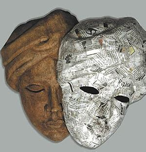 How To Make Paper Mache Molds - paper mache mask on wooden mold masks