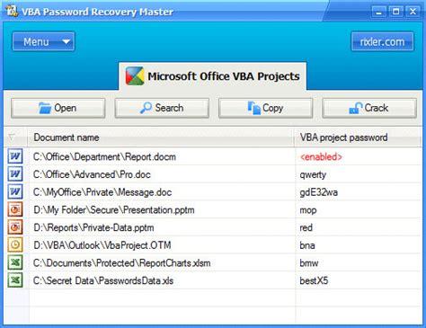 reset vba password full download screenshot review downloads of shareware vba password