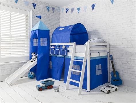 cabin bed blue prince bed with tower tunnel slide white