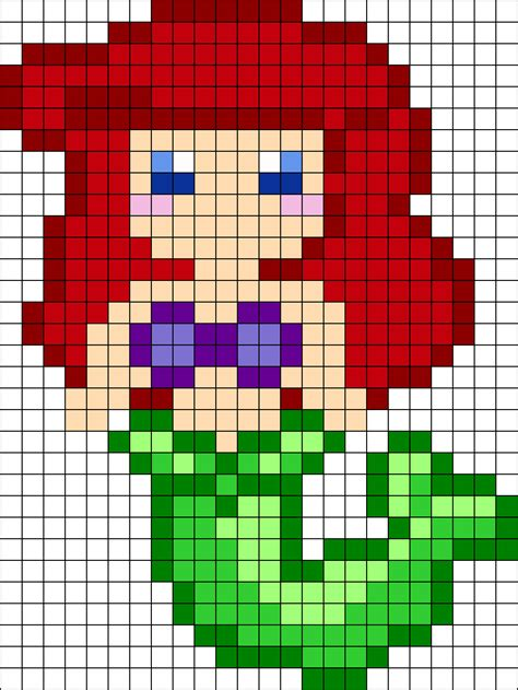 ariel perler bead pattern bead sprites characters fuse
