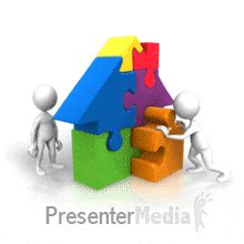 animated pieces puzzle pieces house teamwork education and school
