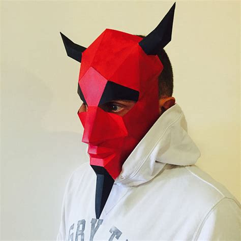 make your own devil mask from paper pdf pattern mask polygon
