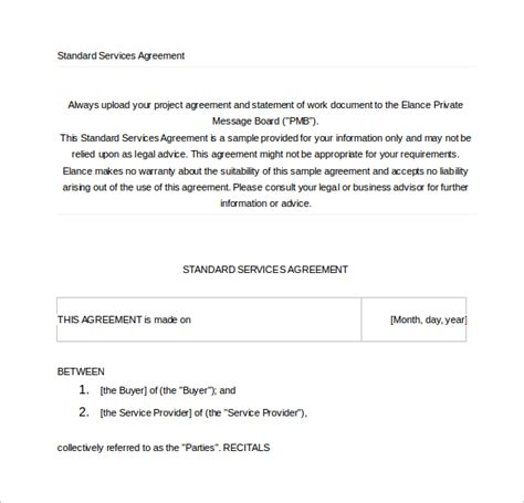 52 Contract Agreement Templates Sle Templates Service Agreement Template Doc