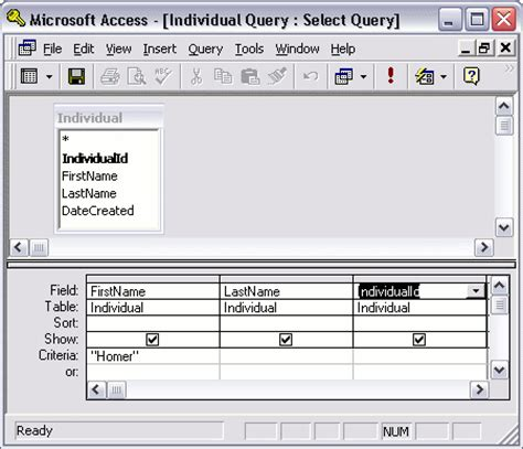 design view criteria microsoft access 2003 modify a query