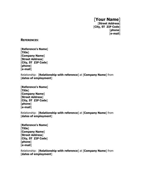 template for resume references reference on resume format reference page sle reference