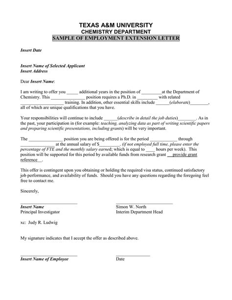 Letter To Extend Contract Of Employment Sle Letter To Extend Contract Employment