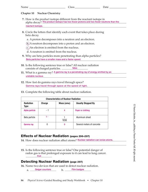 Section 25 1 Nuclear Radiation Worksheet Answers