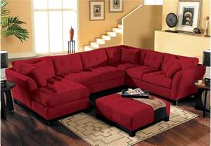 Sofa Recliners Microfiber Cindy Crawford Home Metropolis Cardinal 4 Pc Sectional