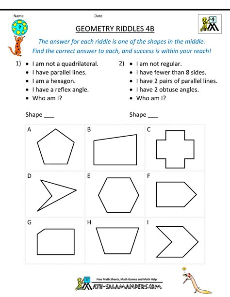geometric shapes worksheets for 4th grade shape pattern