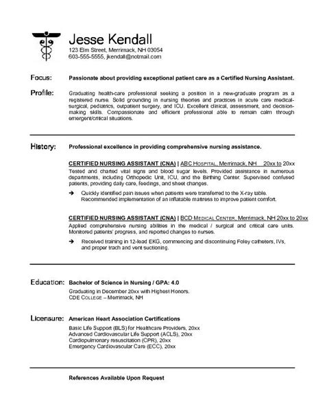 Free Resume Templates For Certified Nursing Assistant Exle Cna Certified Nursing Assistant Resume Free Sle