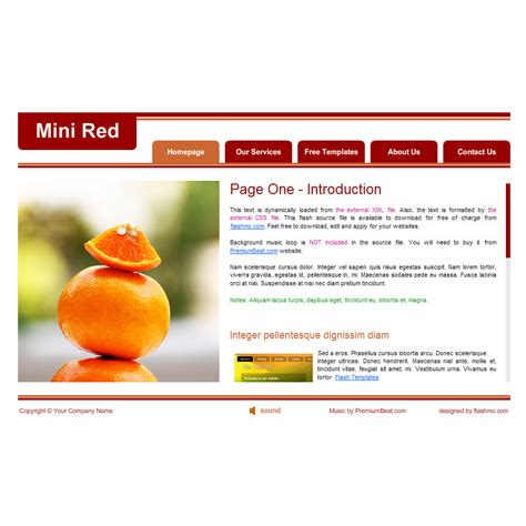 Flash Template 213 Mini Red Flash Player Website Templates