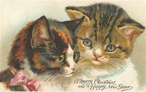 le ceramiche  marta buon natale auguri vintage  gatti merry christmas cards  cats