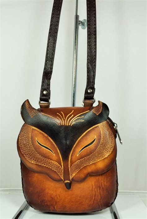 genuine leather fox purse shoulder purse pouch handbag tooled ebay