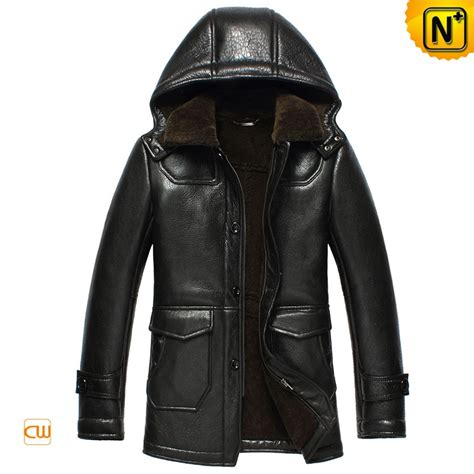 Jaket Simpel Elegan Hooded Jacket hooded leather sheepskin winter jacket mens cw852512