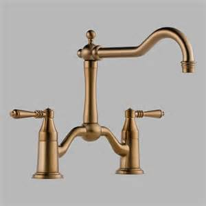 brushed bronze kitchen faucet brizo 62436lf bz tresa two handle bridge kitchen faucet in