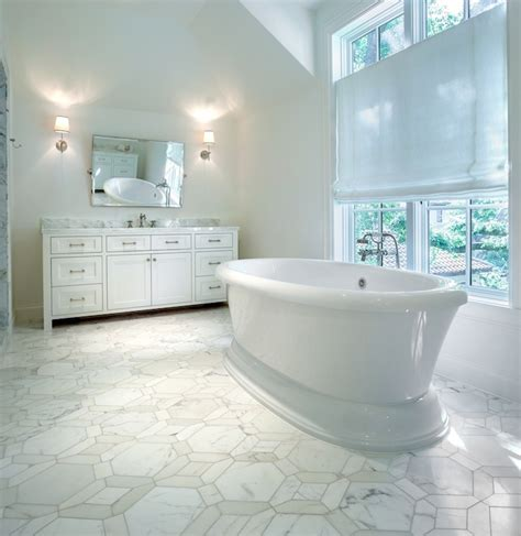 marble geometric tile floor transitional bathroom