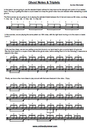 drum tutorial ghost ghost notes triplets sheet music onlinedrummer com