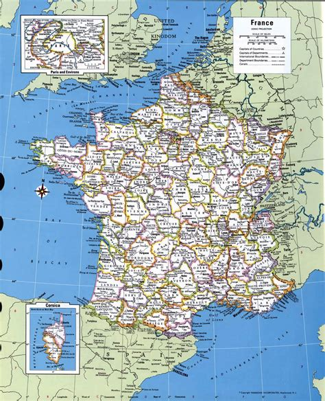 printable road maps of france large detailed administrative and political map of france