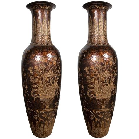unusual vases unusual pair of tall lacquered and incised chinese floor