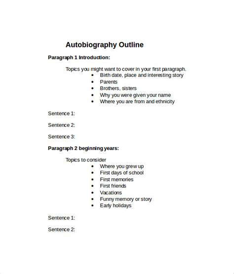 biography outline template autobiography outline outline for autobiography template