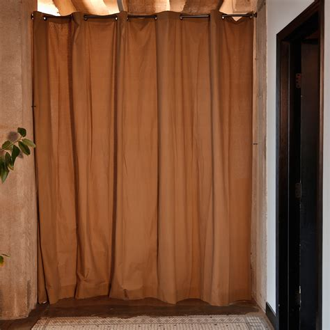 Curtain Room Divider Roomdividersnow Khaki Fabric Curtain Room Divider Do Not Use At Hayneedle
