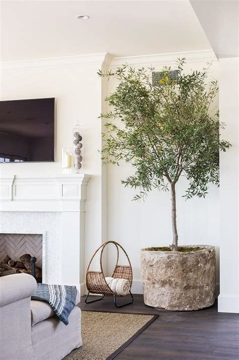 living room trees mosaic tiled fireplace contemporary living room