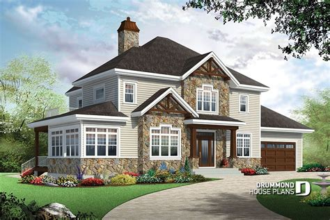 4 bedroom traditional house plan with rustic touches two