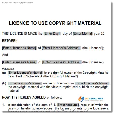 copyright agreement template copyright license agreement template
