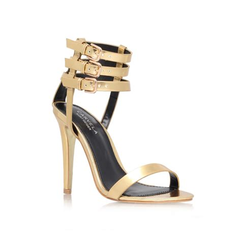 high heel sandals gold carvela kurt geiger gabriel high heel sandals in gold lyst