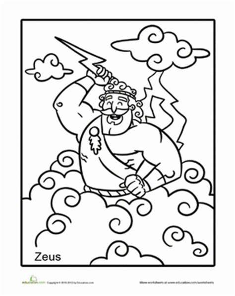 printable coloring pages of zeus zeus worksheet education com