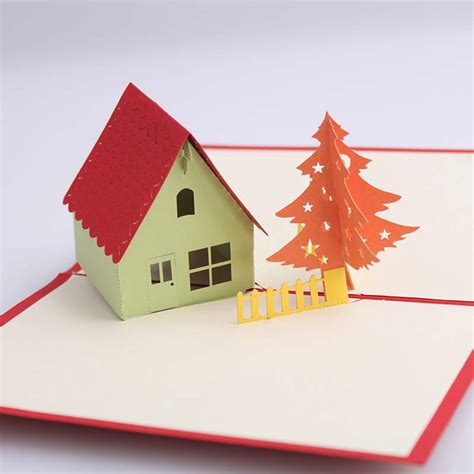 Origami Pop Up Greeting Cards - tree house handmade creative kirigami origami 3d