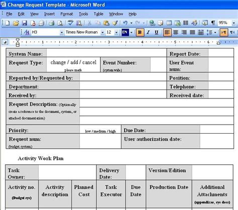 Change Request Template Screenshot Page Report Request Template Word