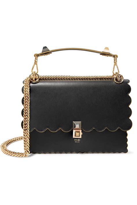 Fendi Kan I Shoulder Bag fendi kan i scalloped leather shoulder bag in black lyst