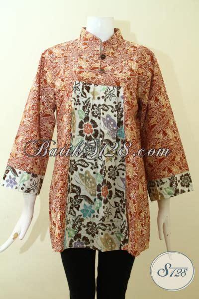 desain baju batik dewasa batik blus coklat motif klasik desain modern nan mewah