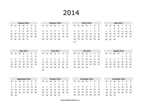 printable calendar 2014 yearly free printable yearly calendar 2014 the best letter sle