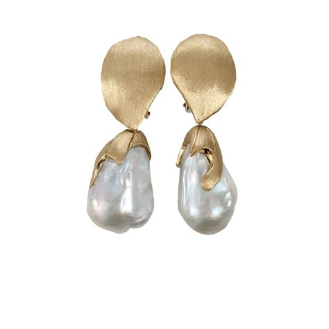 Freshwater Pearl Earring yvel white baroque freshwater pearl drop earrings in gold