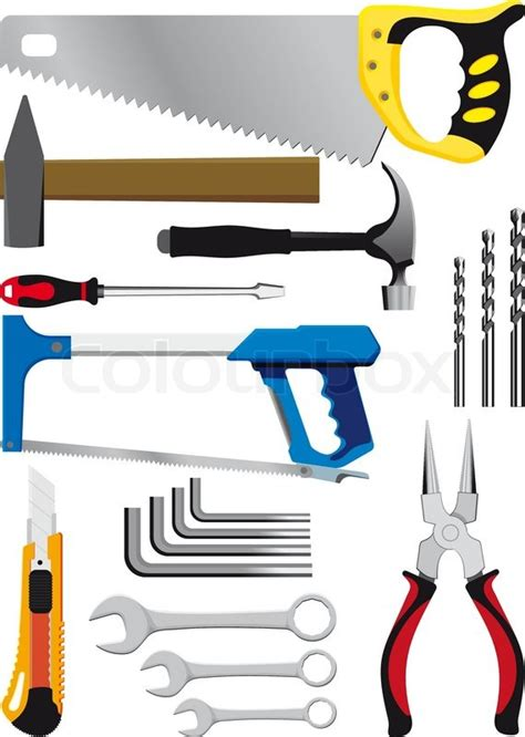 handtools mail different set of hand tools isolated on white stock vector colourbox