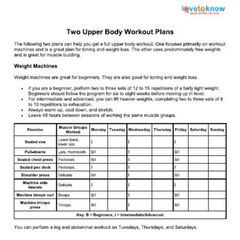 workout plan for home upper body workout plans lovetoknow