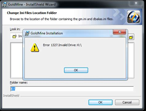 error 1327 invalid drive while installing or updating error 1327 invalid drive installing goldmine on