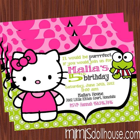 hello kitty themed invitation free printable hello kitty birthday party invitations